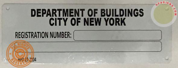 Building registration number sign blanco Line  Signage