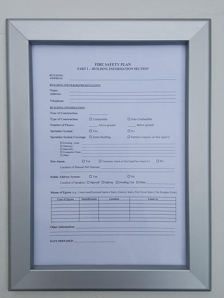 Fire Safety Plan Frame - Sign