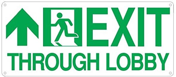 Exit Through Lobby Arrow Straight  SignageGlow