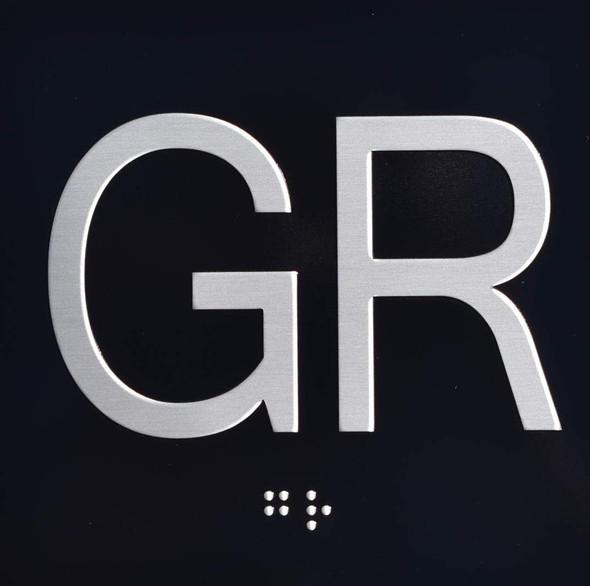 Ground Floor GR Elevator Jamb Plate  Signage with Braille and Raised Number-Elevator Floor Number  SignageBlack-