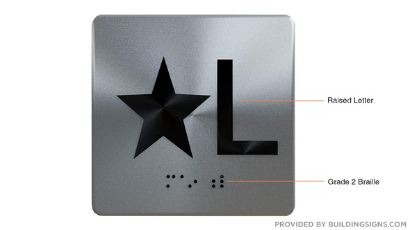 Star L Star Lobby Floor Elevator Jamb Plate  with Braille and Raised Number-Elevator Floor Number -