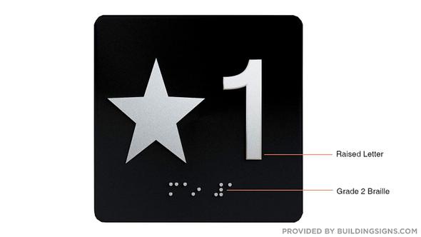 Star 1 - Elevator Jamb Plate  with Braille and Raised Number-Elevator Floor Number Black-