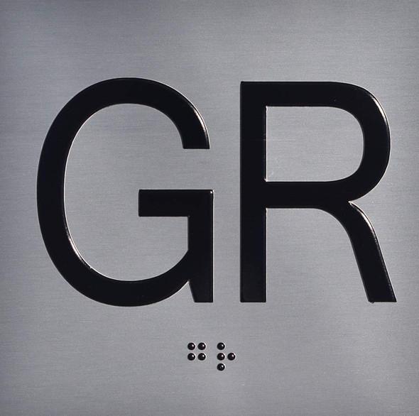 Ground GR Floor Elevator Jamb Plate  Signage with Braille and Raised Number-Elevator Floor Number  Signage-