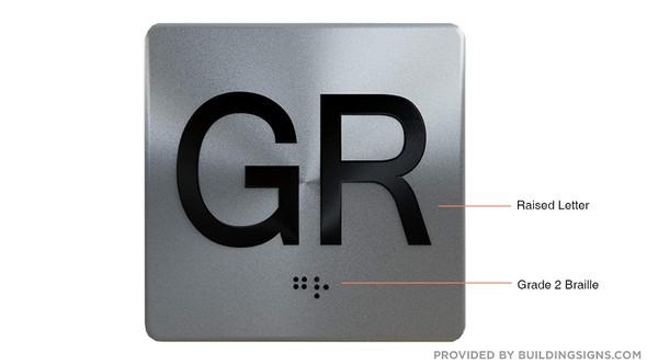 Ground GR Floor Elevator Jamb Plate  with Braille and Raised Number-Elevator Floor Number -