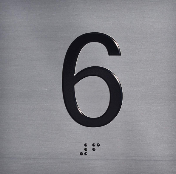 6TH Floor Elevator Jamb Plate  Signage