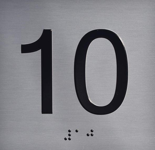 10TH Floor Elevator Jamb Plate  Signage