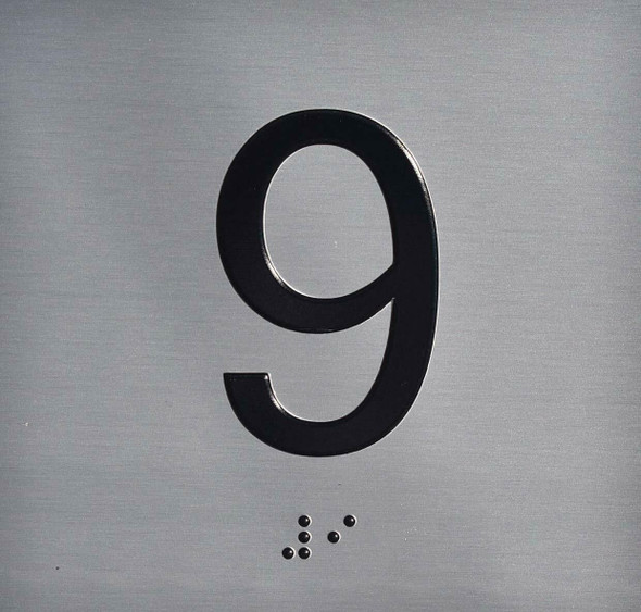 9TH Floor Elevator Jamb Plate  Signage