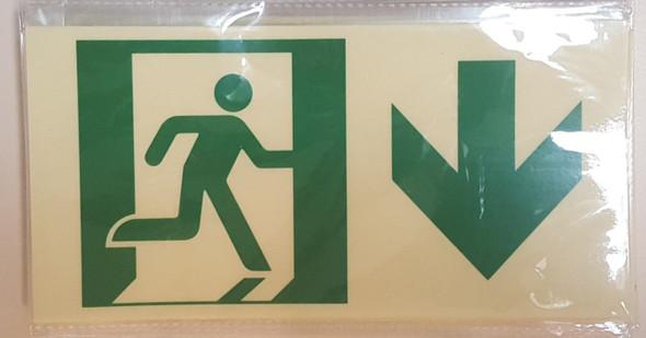 RUNNING MAN DOWN ARROW  Signage -Adhesive