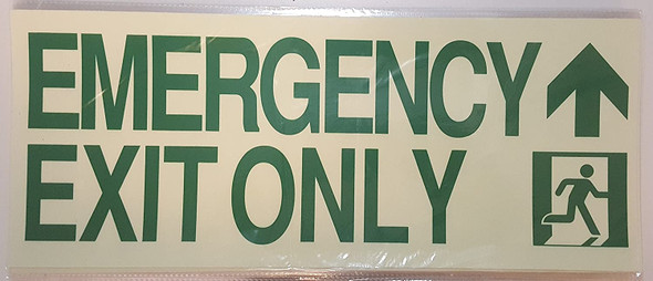 EMERGENCY EXIT ONLY ARROW up  Signage-Glow-In-The-Dark