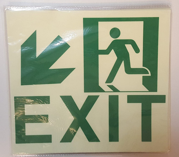 Exit  Signage Down Left Glow in