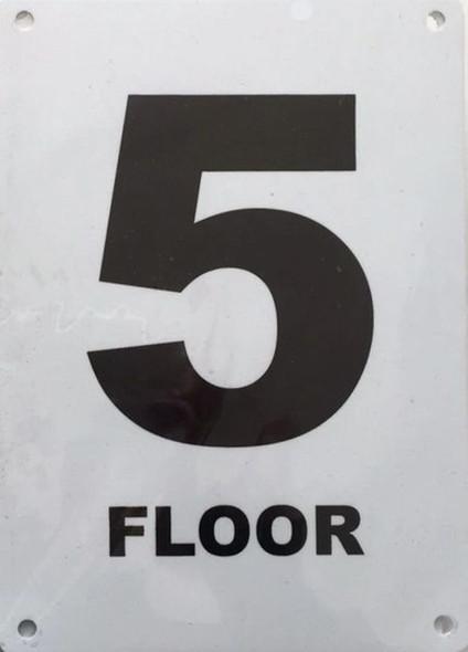 FLOOR NUMBER FIVE SIGN Blanc  Signage
