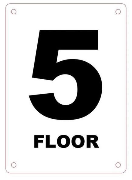 FLOOR NUMBER FIVE SIGN Blanc