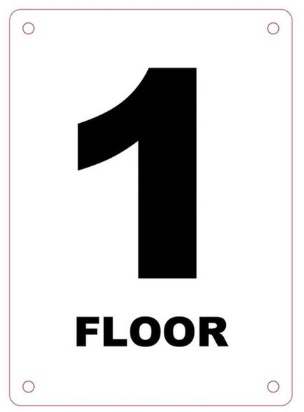 FLOOR NUMBER ONE SIGN Blanc