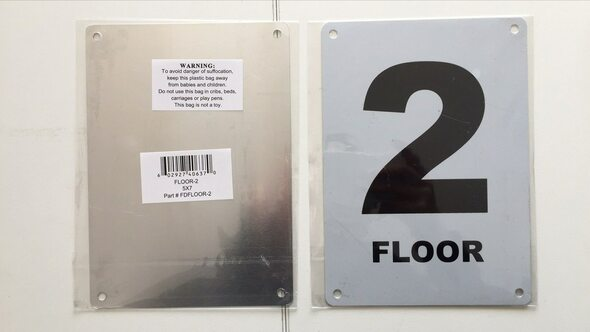 FLOOR NUMBER TWO SIGN Blanc  Signage