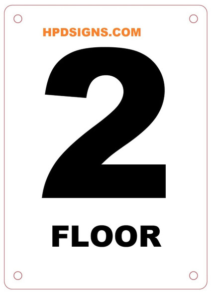 FLOOR NUMBER TWO SIGN Blanc