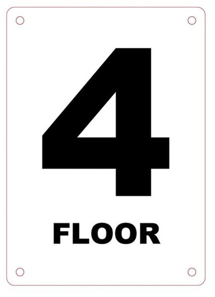 FLOOR NUMBER FOUR SIGN Blanc