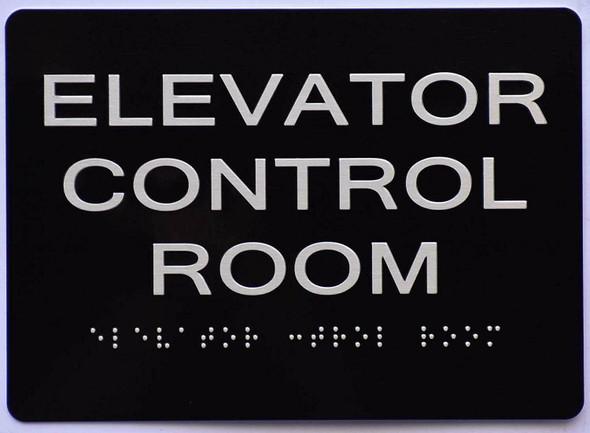 Elevator Control Room  Signage Black ,