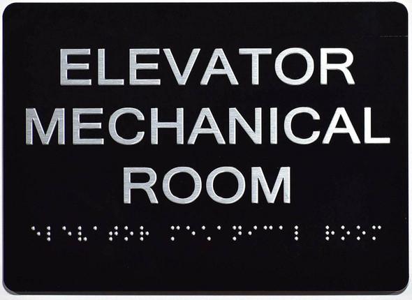 Elevator Mechanical Room  Signage Black ,