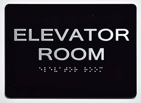 Elevator Room  Signage Black