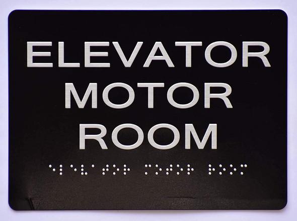 Elevator Motor Room  Signage Black ,