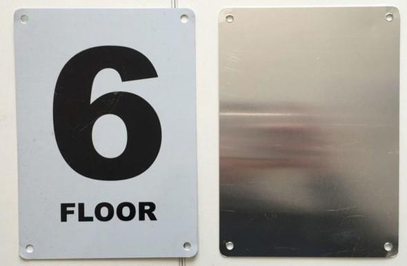 FLOOR NUMBER SIX SIGN Blanc  Signage
