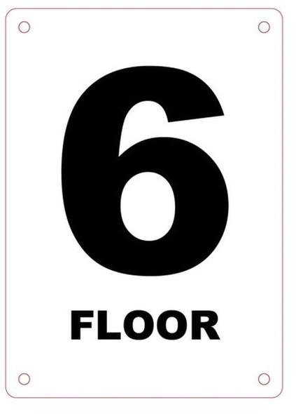 FLOOR NUMBER SIX SIGN Blanc