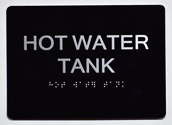 HOT Water Tank  Signage Black ,