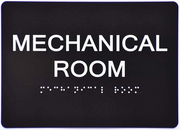 Mechanical Room  Signage - Black ,