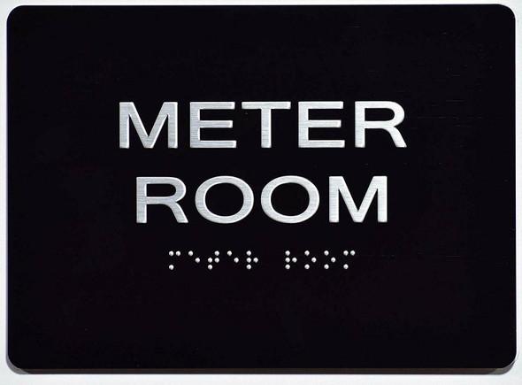 Meter Room  Signage - Black ,