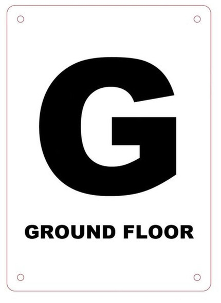 GROUND FLOOR NUMBER SIGN Blanc