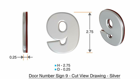 2 PCS - Apartment Number /Mailbox Number , Door Number . Number 9 ,3D