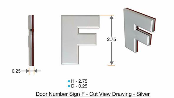1 PCS - Apartment Number /Mailbox Number , Door Number . Letter F ,3D