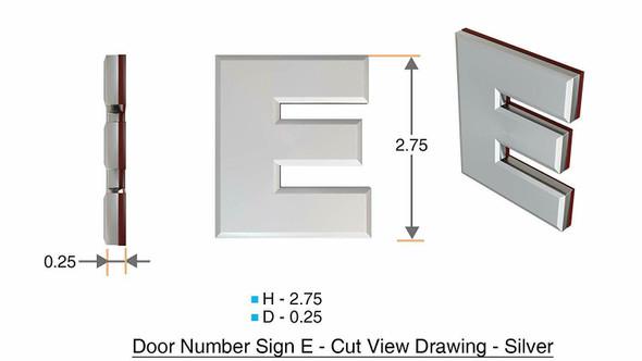 1 PCS - Apartment Number /Mailbox Number , Door Number . Letter E ,3D