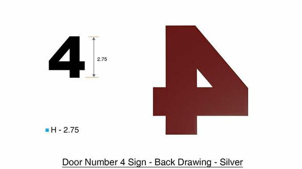2 PCS - Apartment Number /Mailbox Number , Door Number . Number 4 ,3D