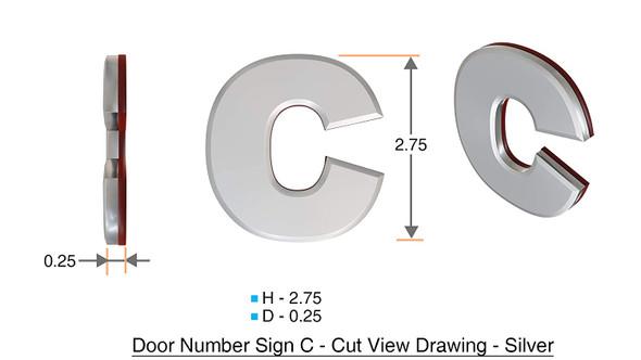 1 PCS - Apartment Number /Mailbox Number , Door Number . Letter C ,3D