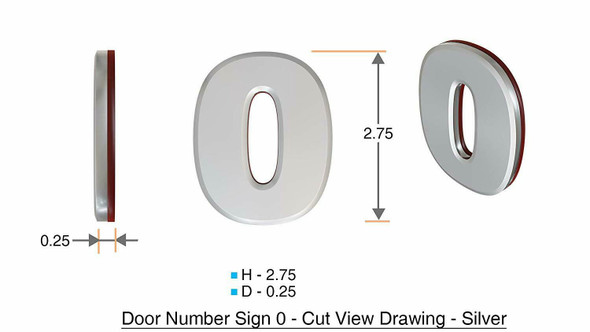 2 PCS - Apartment Number /Mailbox Number , Door Number . Letter 0 ,3D