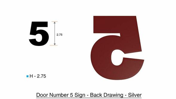 2 PCS - Apartment Number /Mailbox Number , Door Number . Number 5 ,3D