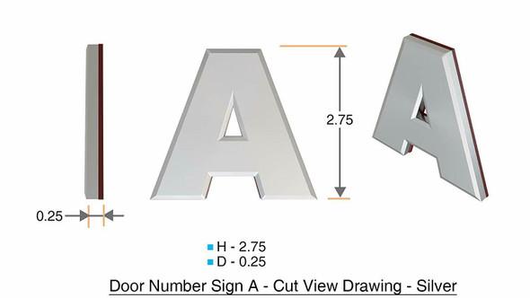 1 PCS - Apartment Number /Mailbox Number , Door Number . Letter A ,3D