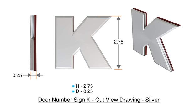 1 PCS - Apartment Number /Mailbox Number , Door Number . Letter K ,3D