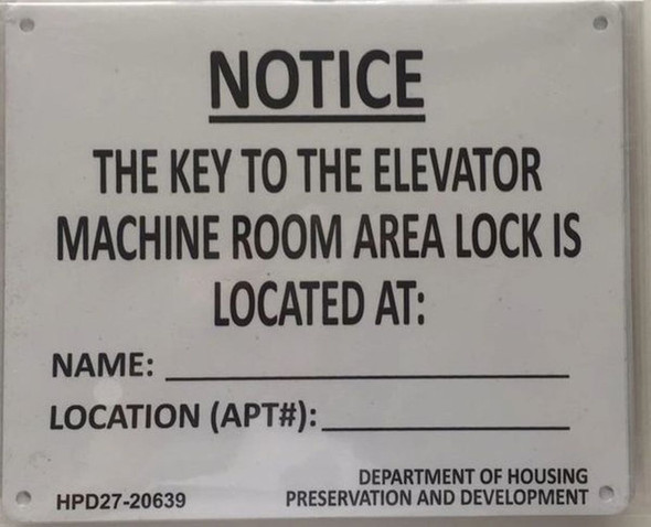 KEY TO THE ELEVATOR MACHINE ROOM  ( age