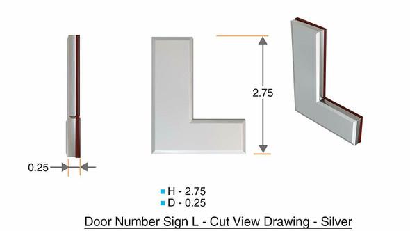 1 PCS - Apartment Number /Mailbox Number , Door Number . Letter L ,3D