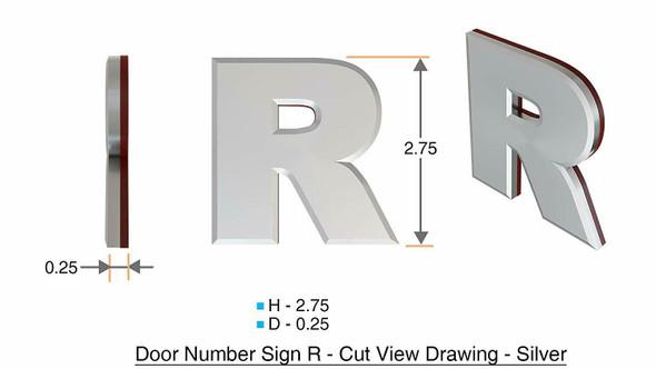 1 PCS - Apartment Number /Mailbox Number , Door Number . Letter R ,3D