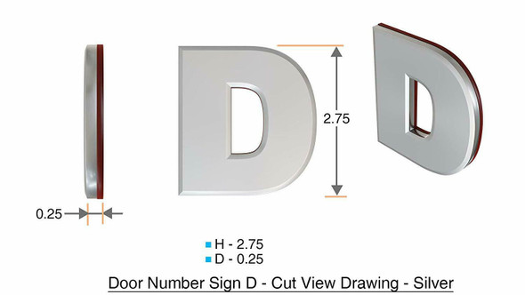 1 PCS - Apartment Number /Mailbox Number , Door Number . Letter D ,3D