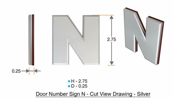 1 PCS - Apartment Number /Mailbox Number , Door Number . Letter N ,3D
