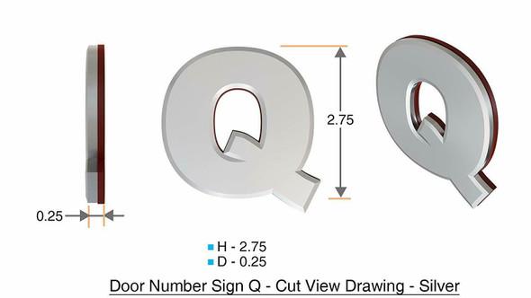 1 PCS - Apartment Number /Mailbox Number , Door Number . Letter Q ,3D