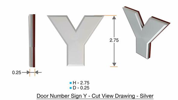 1 PCS - Apartment Number /Mailbox Number , Door Number . Letter Y ,3D