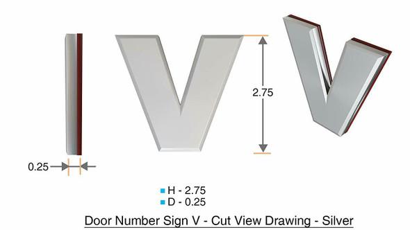 1 PCS - Apartment Number /Mailbox Number , Door Number . Letter V ,3D