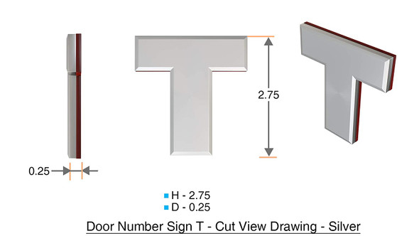 1 PCS - Apartment Number /Mailbox Number , Door Number . Letter T ,3D