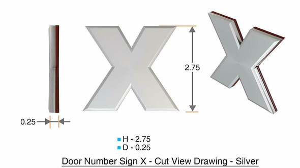 1 PCS - Apartment Number /Mailbox Number , Door Number . Letter X ,3D