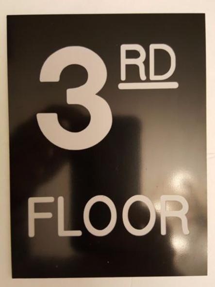Floor number - Three 3  Engraved Plastic-